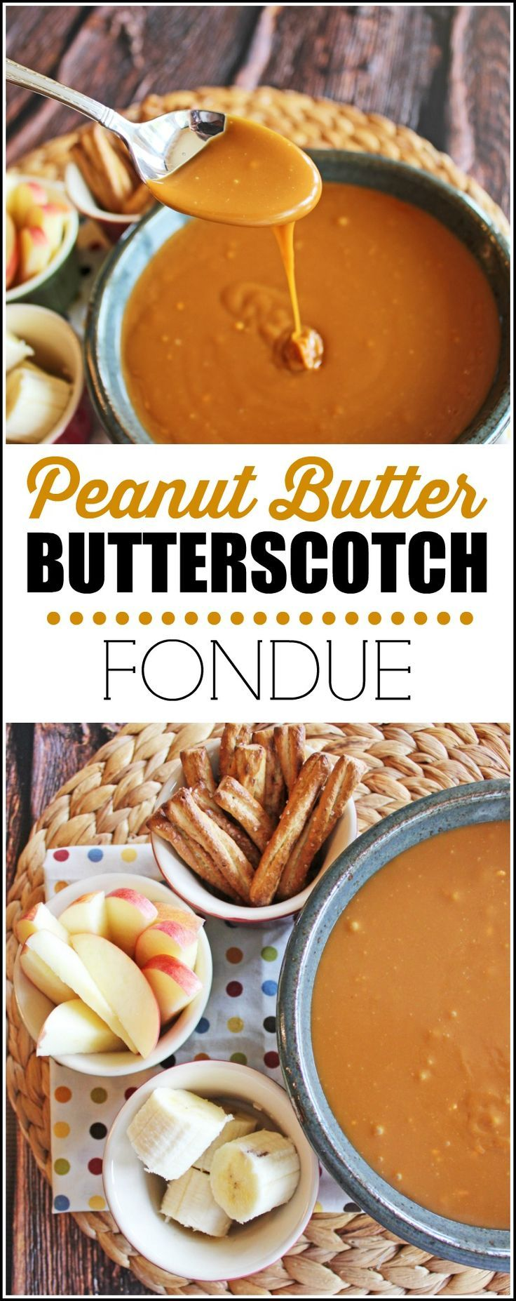 Peanut Butter Butterscotch Fondue Recipe and Printable List of 30 Fabulous Fondue Dippers from Jamie Cooks It Up!