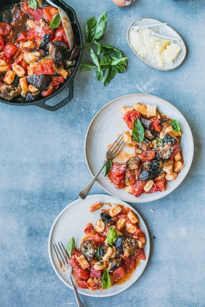 Fast Ricotta Gnocchi with Roast Tomato & Eggplant Sauce