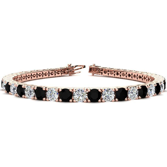 9 Inch 11 34 Carat Black And White Diamond Tennis Bracelet In 14k Rose Gold Sports Online Shopping Rose Gold Black Diamond Black Diamond Bracelet Diamond Bracelet Design