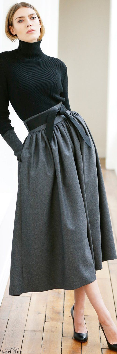 gray skirt black top @roressclothes closet ideas women fashion outfit clothing style Martin Grant Pre-Fall 2015: