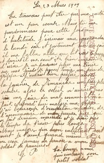 Antique Images: Free Digital Background: 1909 French Postcard Back Handwriting Clip Art