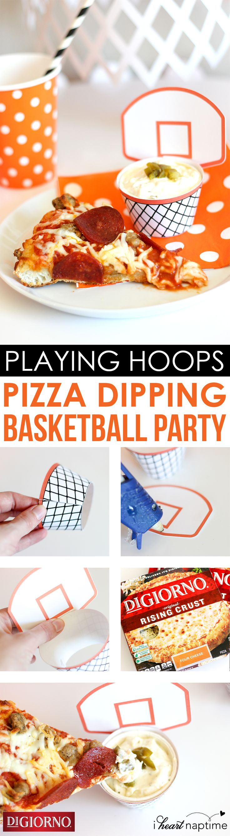 Throw your favorite pizza into a mini hoop of dip! Make every bite a winning one with this fun decoration for the next game.