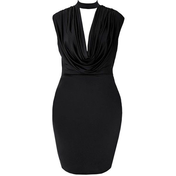 Plus Size Cowl Neck Choker Dress, Jet Black ($30) ❤ liked on Polyvore featuring dresses, night out dresses, plus size night out dresses, cowl neck dress, loose dress and fitted dresses
