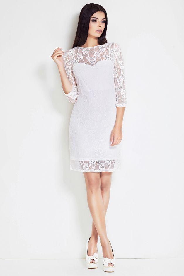 Sukienka, S17 Ecru - awama - Sukienki midi