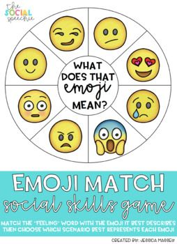 Match the feeling word clothespin with the emoji it best describes on the emoji wheel. After discussing the feeling words on the emoji wheel, choose which scenario best represents each emoji. Part 1 is very basic and part 2 requires critical thinking and recruits carry-over