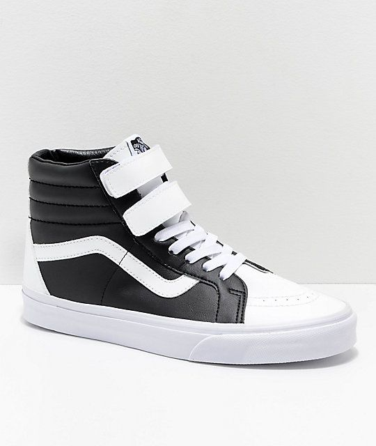 2148a0a1c3 Vans Sk8-Hi Tumble Reissue V White   Black Skate Shoes in 2019 ...