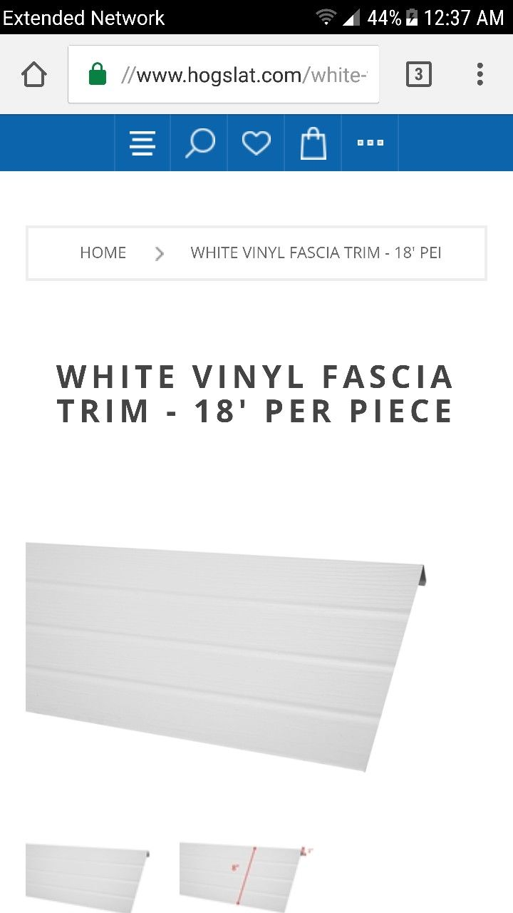 18 Long Piece Of White Vinyl Fascia Trim 8 Wide Face With 1 J Channel On The Bottom In 2020 White Vinyl Fascia Vinyl