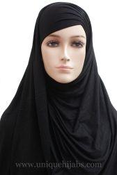 Jersey Hijab Asymmetrical Pleat-Black