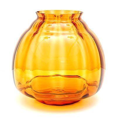 Amber glazen Flora vaas ontwerp A.D.Copier 1938 uitvoering Glasfabriek Leerdam