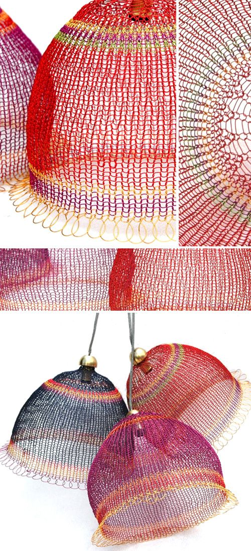 Colourful knitted wire lamps