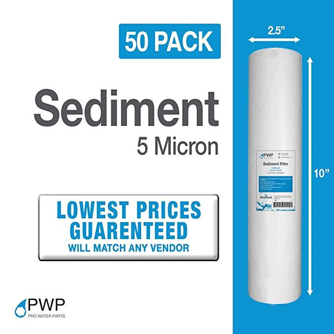 50 Pack Pwp 5 Micron 10 X 2 5 Sediment Water Filter Cartridges Review Water Filter Cartridges Water Filter Whole House Reverse Osmosis