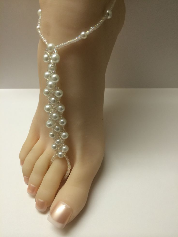 $9.95 White Pearl Beaded Barefoot Sandals Beach Wedding Foot Jewelry http://www.bonanza.com/listings/166857227