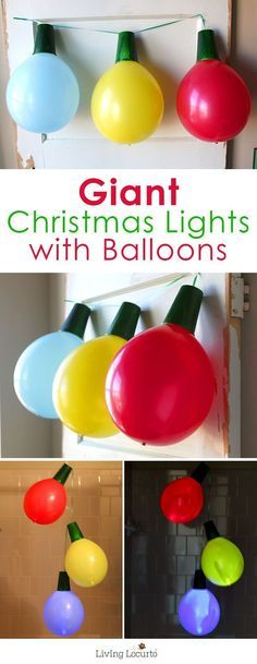 Fun kids activity! Whether hosting a holiday party, Tacky Christmas party or just want to go BIG… these Giant Balloon Christmas Lights and Ornaments are perfect decorations!
