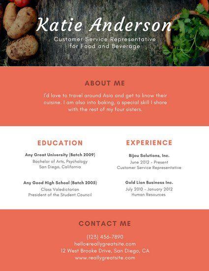 Orange with Photo Header Customer Service Resume
