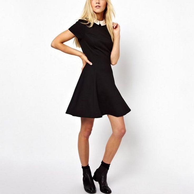 Western Style Short Sleeve Women Summer Spring Dress Brief Peter Pan Collar Back Zip Black Short Casual Dresses TQ