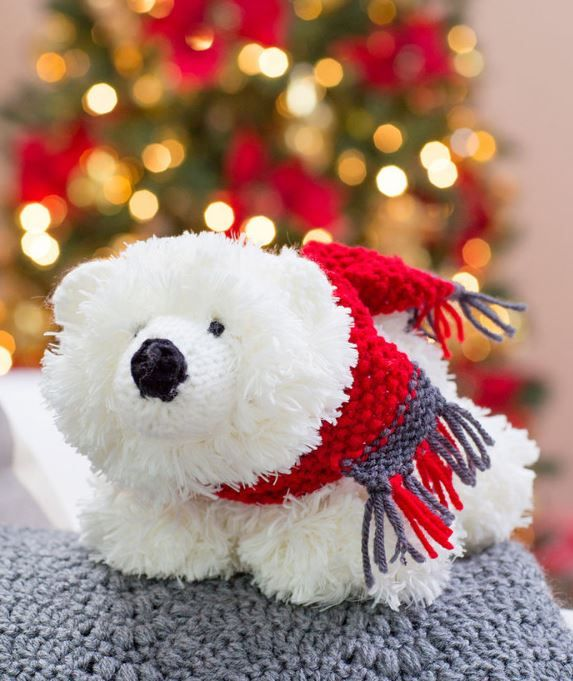 """Free Knitting Pattern for Fluffy Polar Bear - #ad Easy toy polar bear measures about 12½"""" [32 cm] long. Designed by Michele Wilcox"""