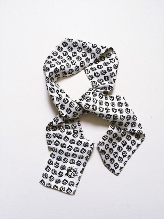 Monochrome Printed Silk Skinny Scarf Neck Tie by WilfulNorth