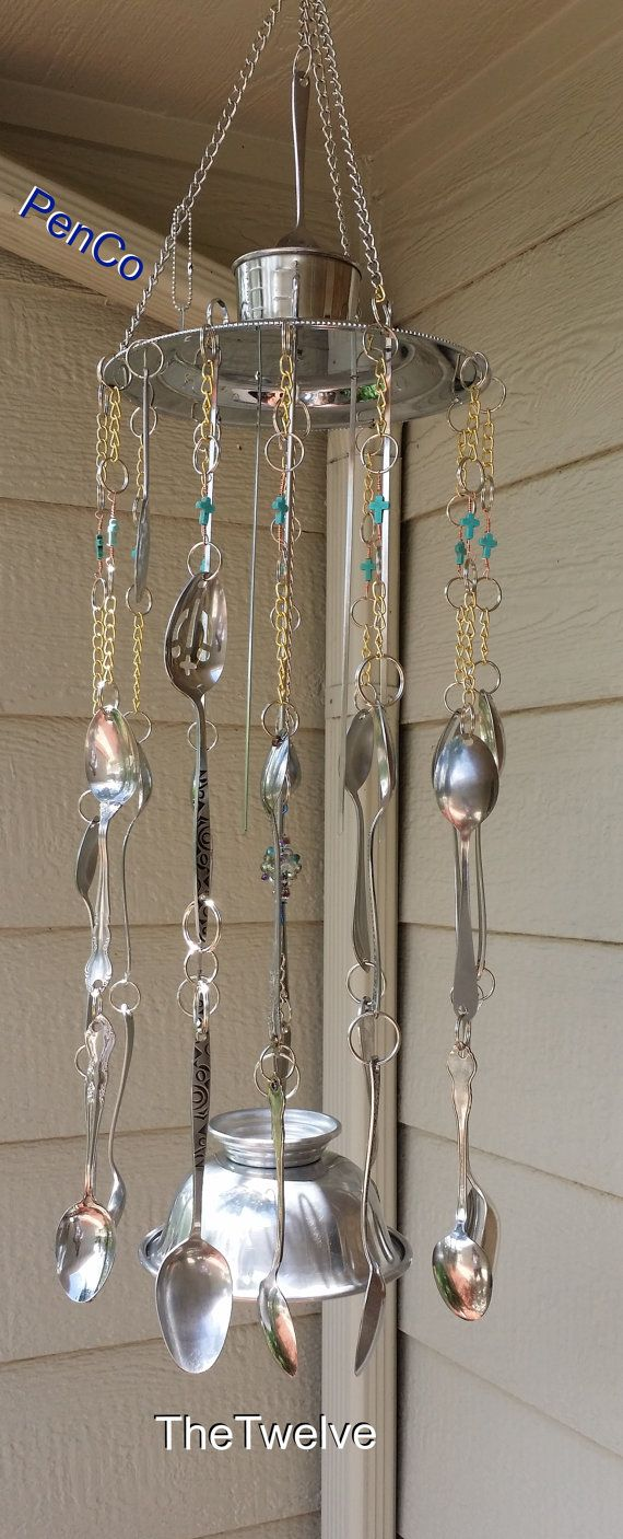 One Of a Kind Recycled Wind Chime made of stuff around the home. on Etsy, $61.11