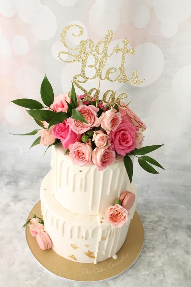 Baby Girl Baptism Cake/ Baby Shower cake/ Drip cake