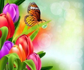 Wiosna kwiat piękne tła wektory 10