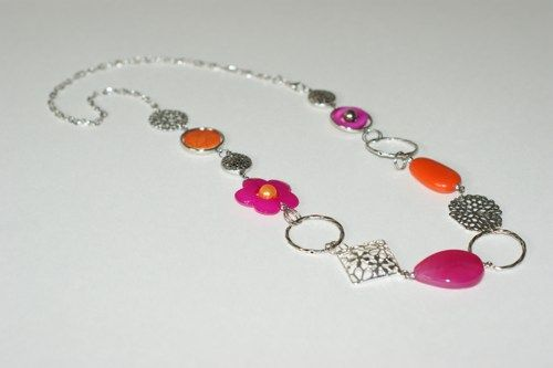 Long asymmetrical necklace - Orange and fuchsia long necklace