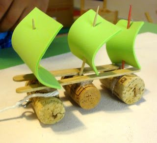 Pirate ship craft - corks, craft sticks, toothpicks, foam, stickers (Time for Play)