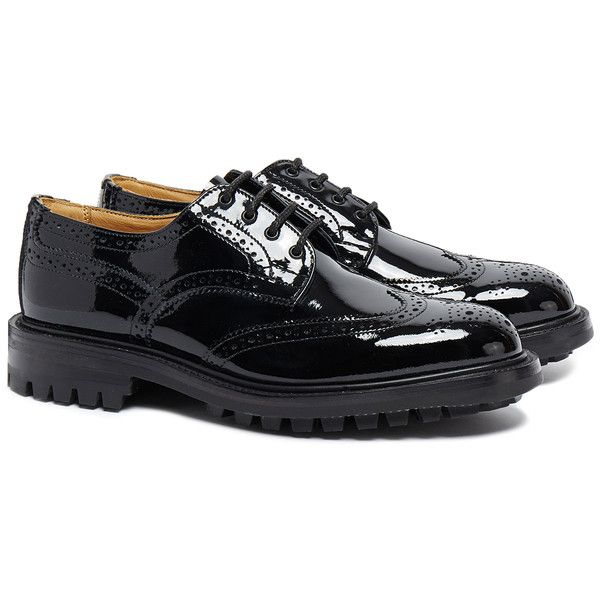 Tricker's Laura Black Patent Leather Brogues ($235) ❤ liked on Polyvore featuring shoes, oxfords, black, black shoes, lace up oxfords, round cap, brogue oxford and black brogues