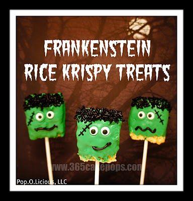 FrankensteinHoliday, Halloween Parties, Frankenstein Rice, Rice Krispies, Halloweentreats, Halloween Treats, Treats Pop, Rice Crispy Treats, Rice Krispie Treats