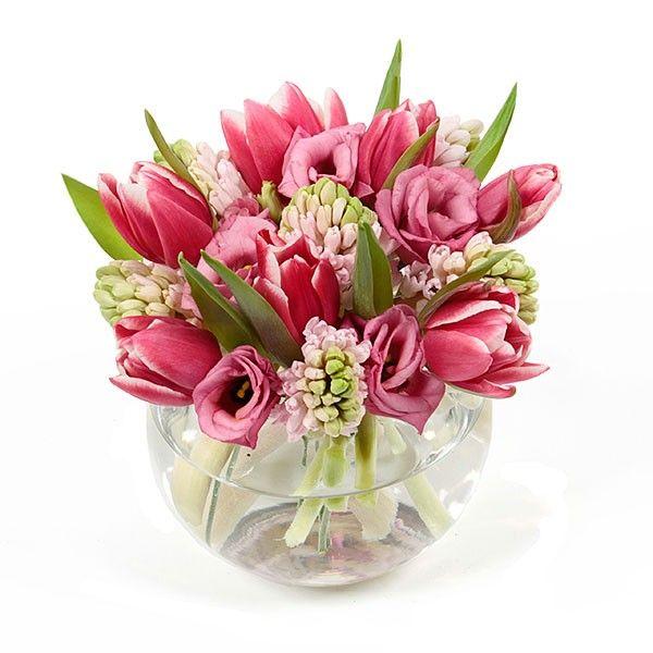 PlantShed.com   Bisou Bisou   Flower Delivery NYC   Pink Tulips & Lisianthus in Fishbowl