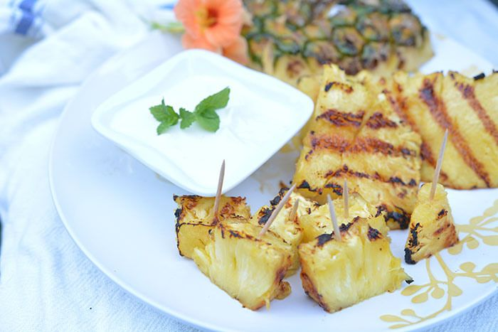 Grilled Pineapple with Honey Lime Dipping Sauce - @haphealthyRD