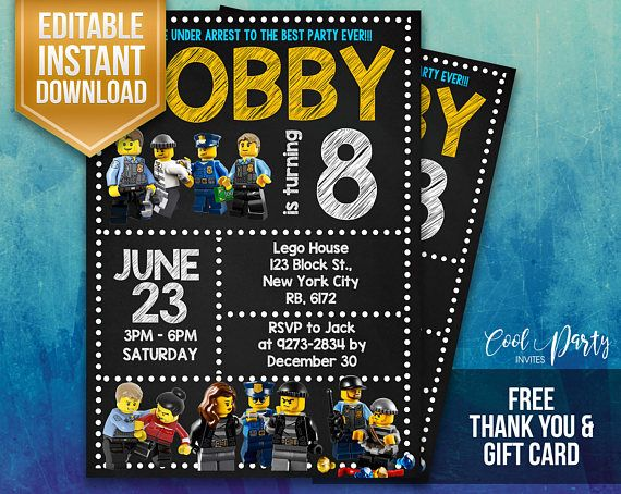 Lego City invitation, Lego City birthday invitation, Lego Police invitation, Lego Police and Crooks, Lego City, Police and Crooks invitation