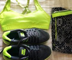 Neon green work out outfit