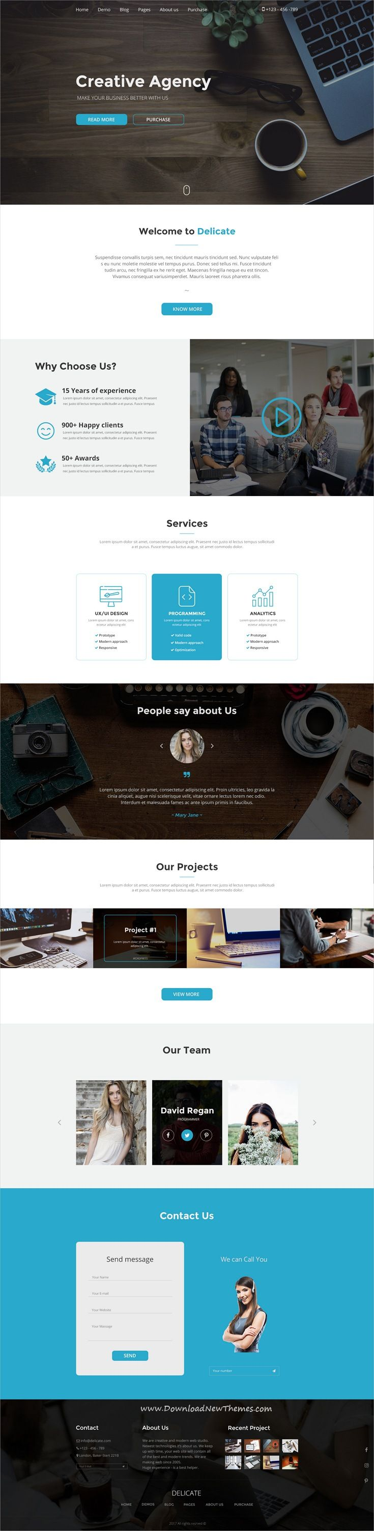 Delicate is clean and modern design PSD template for #business and #agency website with 11 layered PSD pages to live preview & download click on image or Visit   #psdmockups