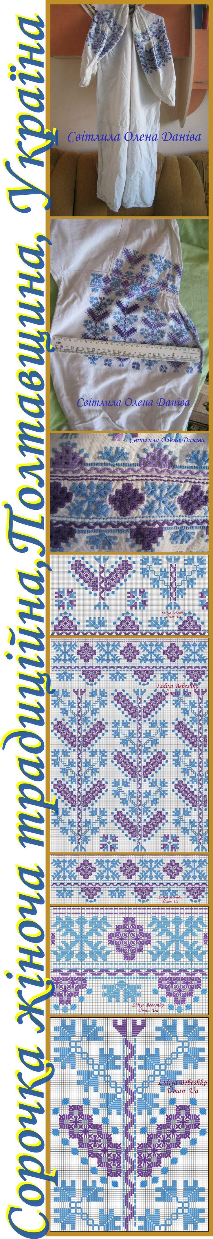 Нарукавна вишивка жіночої сорочки з Полтавщини, Україна.