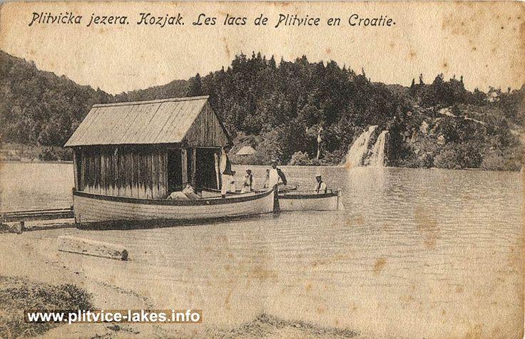 Small Wooden Pier Boats And Waterfall At Kozjak Lake Plitvice In 1900s Plitvice Lakes Lake Plitvice Lakes National Park