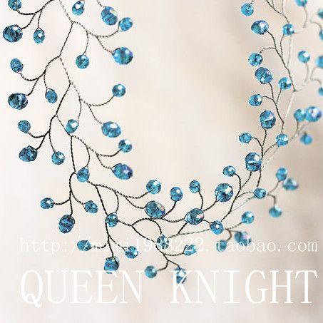 Пользовательские ручной работы аксессуары для волос невесты невесты голубой кристалл гирлянды тканые оголовье - Taobao