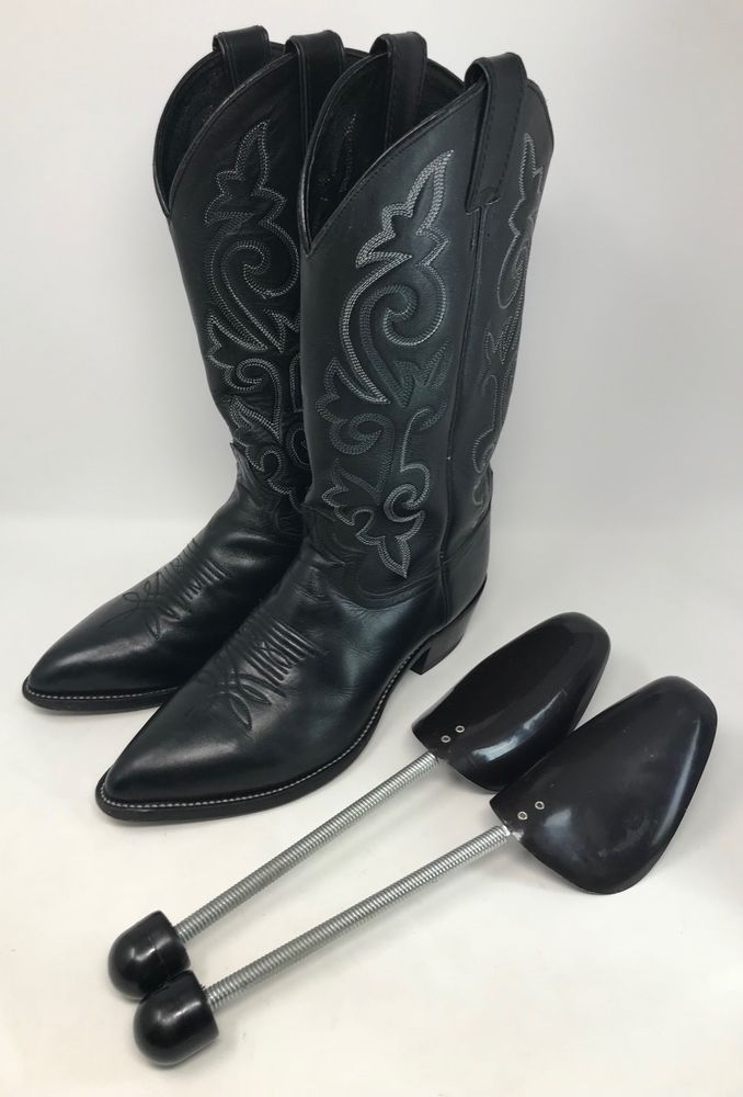 Justin Black Leather Classic J Toe Cowboy Boots Style 1408 Men S