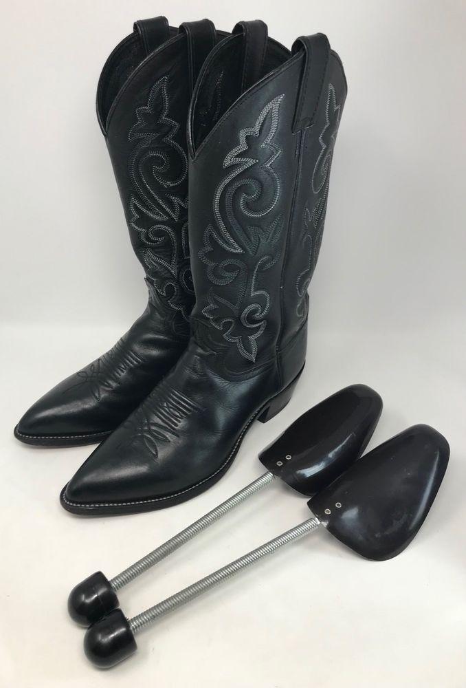 Justin Black Leather Classic J Toe Cowboy Boots Style 1408 Men S
