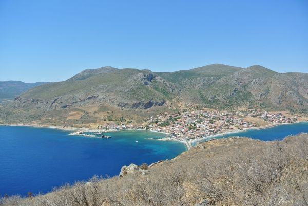 View to the new town of Monemvasia and the sea from the top of the Medieval Castle