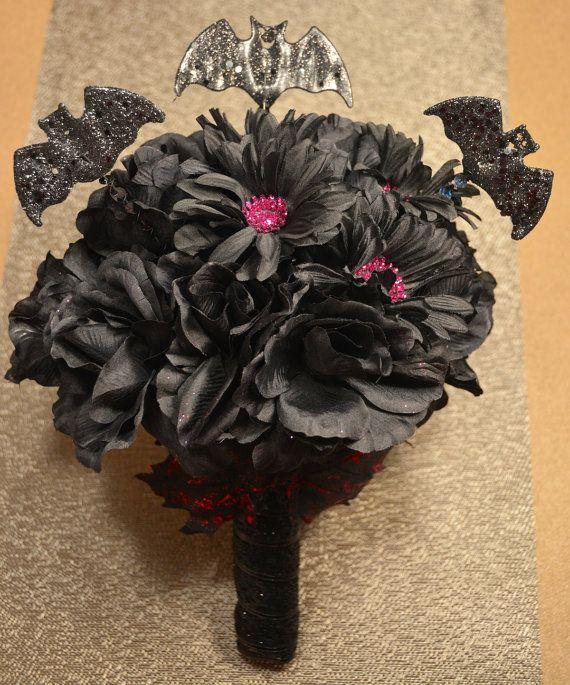 Halloween Wedding Bouquets: Black Wedding Bouquet Faux Black Roses Fuchsia Glitter