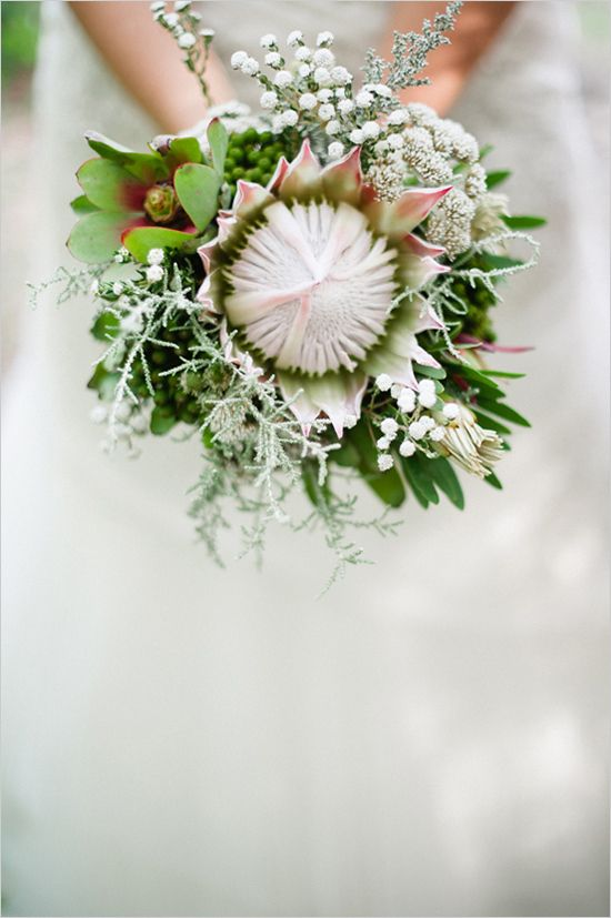 <b>Enough with the baby's breath.</b> Your bouquet deserves baseballs, buttons, and butterflies.