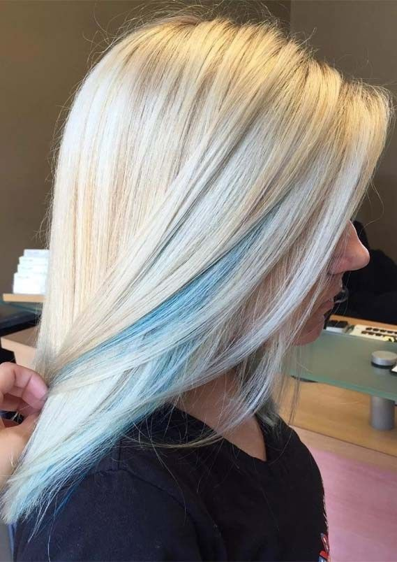 Gorgeous Blonde Hair Colors With Blue Highlights For 2019 Light