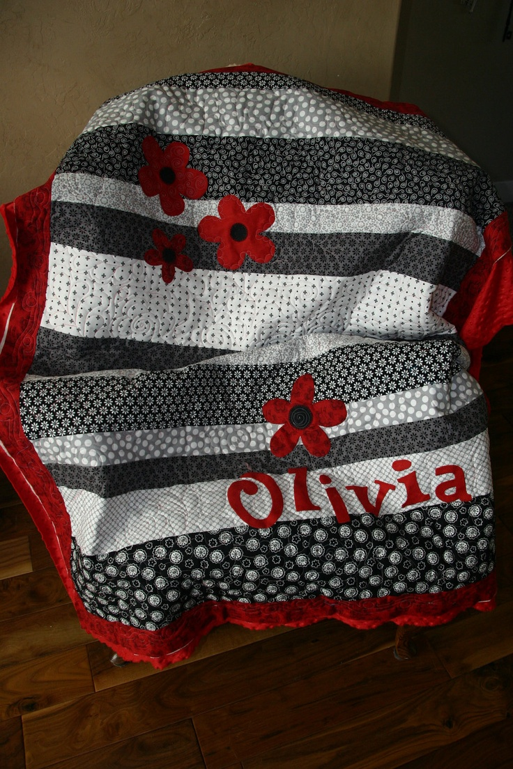 Black, White, Grey and Red Quilt.  Football game quilt..replace name with school and flowers with mascot