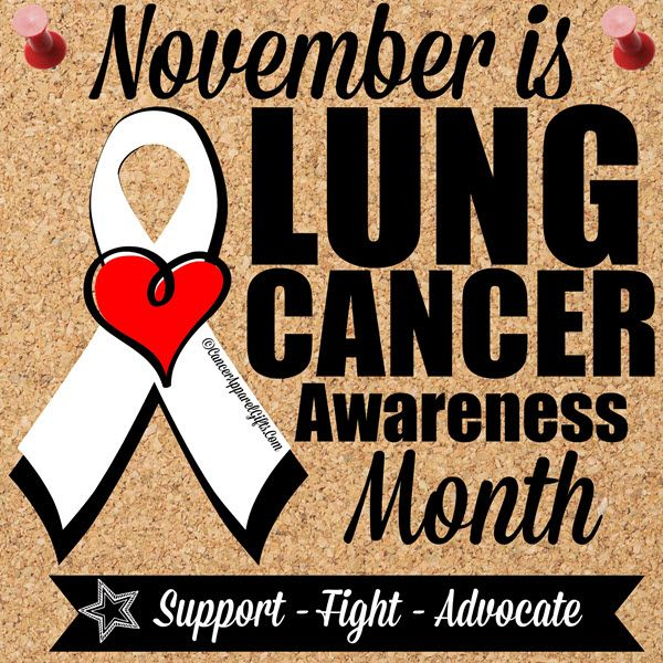 Everything there is to know about lung cancer Start advocating and get your pearl ribbon on because November is Lung Cancer Awareness Month. Get involved with your charity of choice by volunteering or offer assistance to a family or friend battling Lung Cancer by doing chores, cooking, laundry or a simple phone call. If you're walking to raise awareness for Lung Cancer, be sure to check out our cancer awareness t-shirt and gift store at www.cancerapparel...