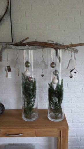 Kerst deco op hoge vazen