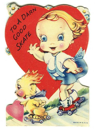 vintage valentine on roller skates by karen horton, via Flickr