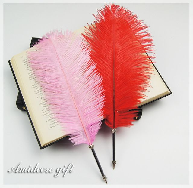 Elegante pena de avestruz caneta meninas amei bonito presente de natal caneta pena do Vintage da moda amigas presente canetas promocionais