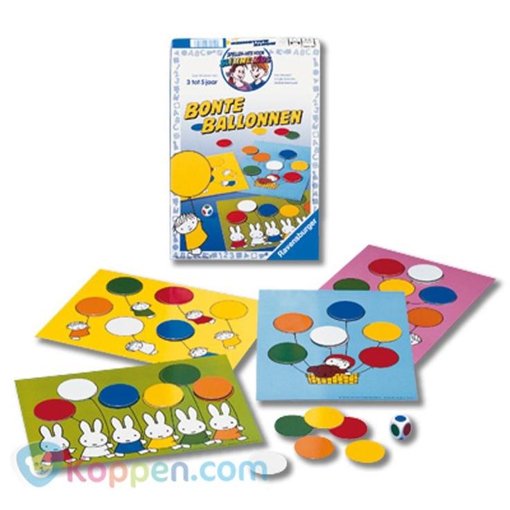 Nijntje, bonte ballonnen. Nijntje en haar vriendjes vinden het leuk om met gekleurde ballonnen te spelen! Kunnen jullie hen helpen om zes verschillende kleuren ballonnen te verzamelen? http://www.koppen.com/producten/categorie/merken/sub-categorie/nijntje/geslacht/jongen/leeftijd/vanaf-3-jaar/materiaal/karton/merk/ravensburger/aanbieding/all/prijs/-10,00-20,00/product/8400880 Prijs: € 13,53