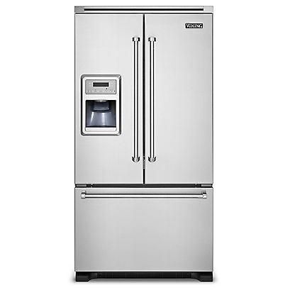 """36""""W. French-Door Bottom-Freezer Refrigerator with Ice and Water Dispenser - VCFF136D - Viking Range, LLC"""