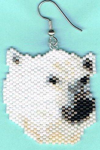 Hand Beaded White Polar Bear earrings